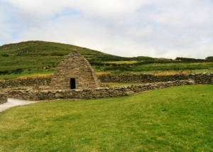 Beehive huts like this one dotted the remote landscape of western Ireland from the eighth century on.