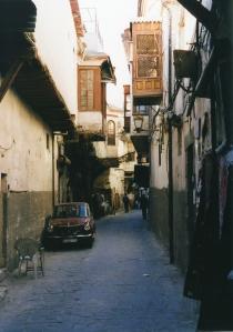 Damascene alleyway replete with mashrabiya.