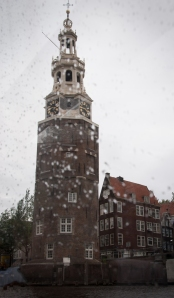 My only photo of Montelbaanstoren is this one, taken on a gloomy day from a canal boat.