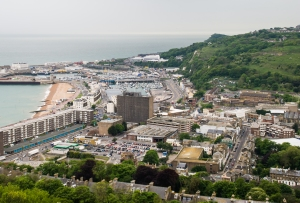 The city of Dover from the top of the castle keep.