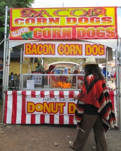 Corn Dogs are on the agenda for this ponchoed music-lover!
